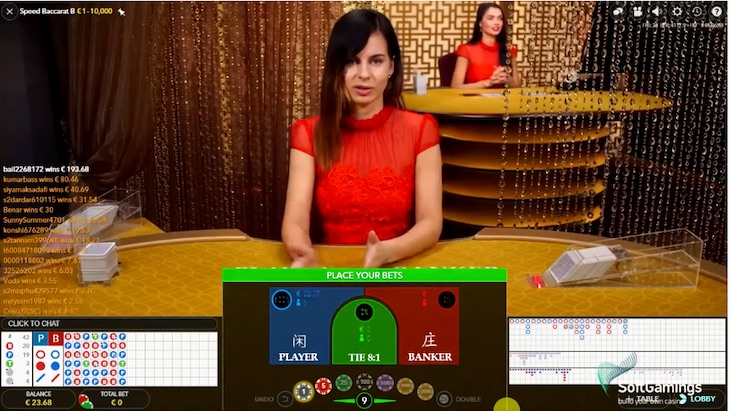 how to play speed baccarat step 1