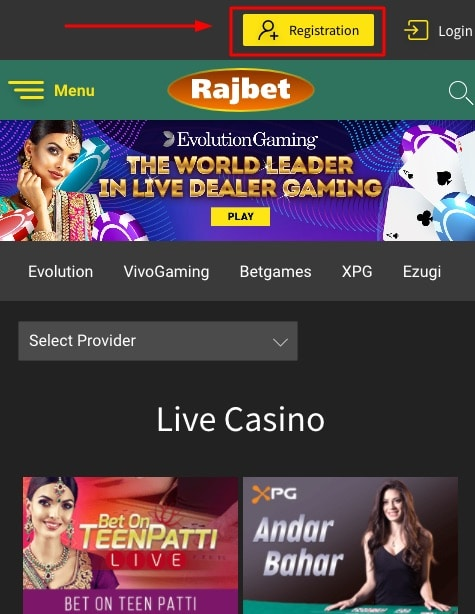 Rajbet how to sign up step 1